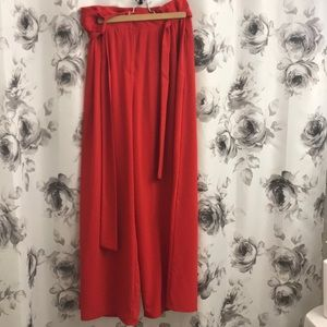 Red high wasted flared trousers